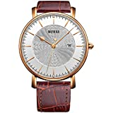 BUREI Unisex Big Face Silver Quartz Watch with Date Window Analog Display and Classic Milanese Mesh Strap (Rose Gold)