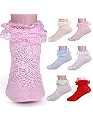 Polytree Toddler Girls Breathable Lace Top Dress Socks Pack of 3 (Random Color)
