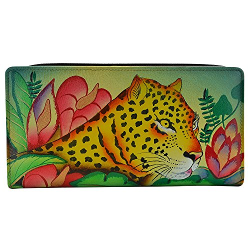 Anna by Anuschka Hand Painted Leather Two Fold Wallet/Clutch | Jungle Leopard