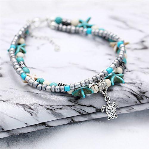 Da.Wa elegante cavigliera catena multistrato a forma di tartaruga Starfish cavigliera spiaggia a piedi nudi sandalo piede catena decorazione