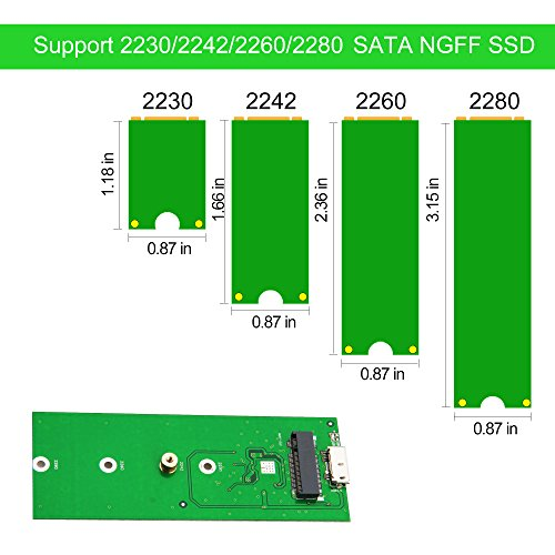 M.2 SSD to USB 3.0 External Enclosure 6Gbps UASP, Hard Drive Disk HDD Housing Portable Case Support NGFF M.2 SATA-based B Key/B+M Key Driver 2230 2242 2260 2280 by Mveohos (Image #3)'