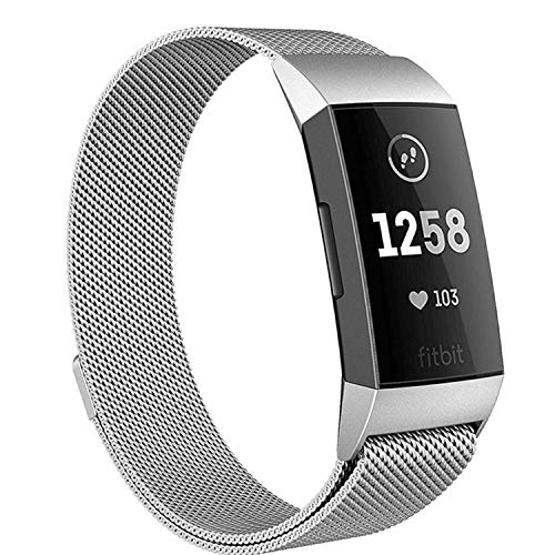 Deyo Milanese Bands Compatible for Fitbit Charge 3/Charge 3 SE Women Men Advanced Fitness Tracker Stainless Steel Metal Replacement Accessories Strap Wristbands Small Large (Silver, Small)