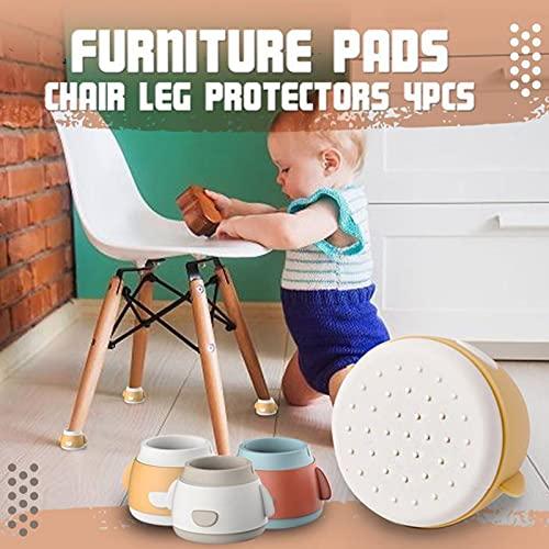 Protector Patas Sillas, Cojines para muebles 4 PCS Protector de patas para mesas y sillas Tapones De Goma (Amarillo)
