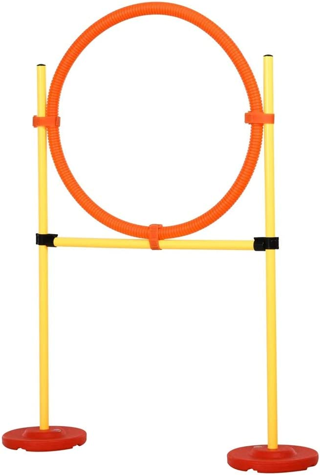 3pc Portable Dog Obstacle Course Backyard Agility Set with Adjustable Weave Poles High Jump Jumping Ring