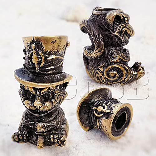 CooB 1Pcs/Lot EDC Paracord Bead Beads Pendant Charm Hair Beard. DIY Beads Charms for Paracord Bracelet, Keychain, Knife Camera Lanyard, Charm Zipper Pull Alice in Wonderland (Cheshire CAT Bronze)