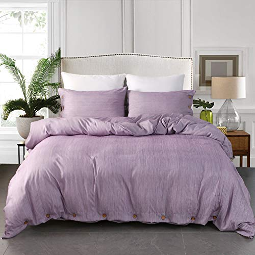 JELLYMONI Purple Duvet Cover Set, 3-in-1 Luxury Button Bedding Set, Ultra Soft Breathable Hypoallergenic Microfiber, Easy Care,Simple Style,Solid Color Duvet Cover King Size(104