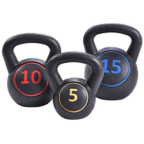 Home Gym 3 Pcs Vinyl Kettlebell Kit Body Muscles Training Weights 5 10 15lbs Set - By Choice Products by By Choice Products