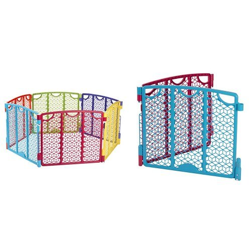 Evenflo Versatile Play Space, Multi Color with Versatile Play Space 2-Panel Extension, Multi Color