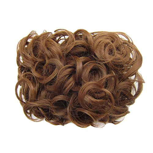 PrettyWit Short Messy Curly Hair Bun Piece Up Do Ponytail Extensions Comb Clip in Bride Scrunchy Scrunchie-Light Chestnut Brown 12#