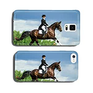 Woman riding a horse on the hill. Equestrian sport - dressage. cell phone cover case Samsung S6