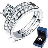 925 Sterling Silver Wedding Ring Set Engagement Anniversary Valentine