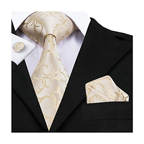 - Hi-Tie Men White Gold Floral Tie Woven Silk Necktie with Cufflinks and Pocket Square Tie Set
