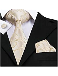 Classic Gold Champagne Tie Pocket Square and Cufflinks set Woven Silk Wedding Necktie