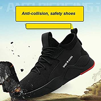 Metyere 1 Pair Heavy Duty Sneaker Safety Work Shoes Breathable Anti-slip Puncture Proof for Men and Women