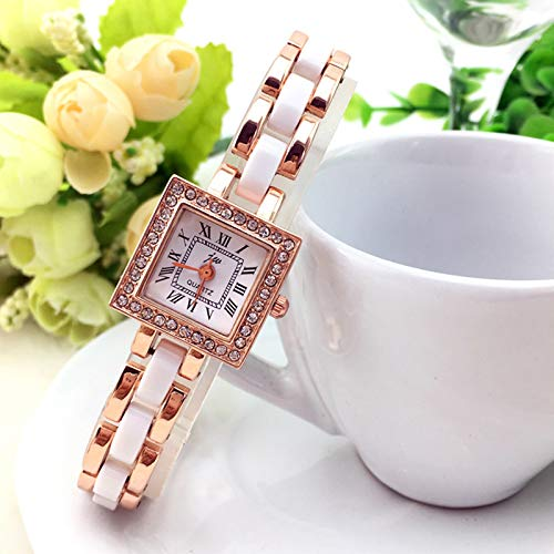Unique Fashion Square Bracelet Bangle Watch Women Girls Style Diamond Roman Numerals Watch Students Watch Watch (Golden