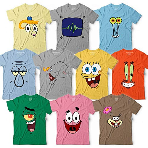 Group Cartoon Costumes - Spongebob-and-Friends Sponge Halloween Costume Group Family Team Cruise Matching Cartoon Characters Face