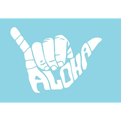 CCI Shaka Aloha Hang Loose Decal Vinyl Sticker|Cars Trucks Vans Walls Laptop| White |5.5 x 4 in|CCI957: Automotive