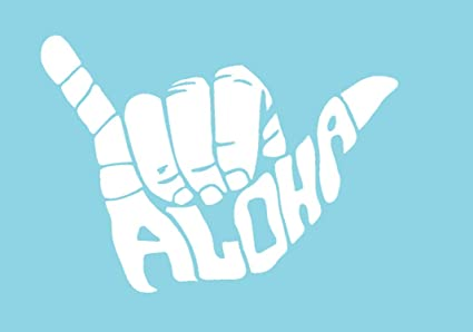 CCI Shaka Aloha Hang Loose Decal Vinyl Sticker|Cars Trucks Vans Walls  Laptop| White |5 5 x 4 in|CCI957