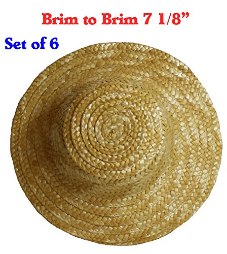 7 Inches (Set of 6) Vintage Round Top Straw Woven Hat for Dolls Bears Country Crafts