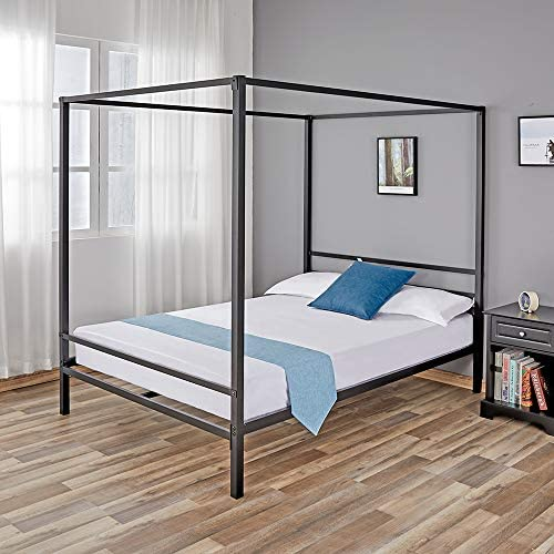 Full Size Canopy Bed Frame Canopy Bed Full Size Metal Bed Frames Four Poster, with Metal Platform and Slats, Holds up to 1100 lbs Strong Steel Mattress Support, No Box Spring Needed, Full Size