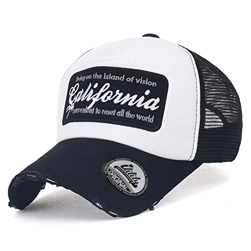 Distressed Trucker Mesh ililily Cap California Black Vintage Baseball Hat Embroidery 1qww4gPt