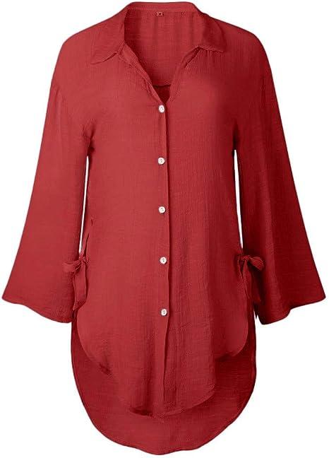 SMILEQ Camiseta para Mujer Botón Suelto Informal Camisa Larga Lisa Vestido Algodón Damas Blusas Casuales: Amazon.es: Deportes y aire libre