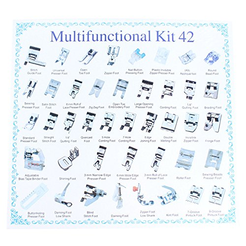 Agile Shop Professional Domestic 42 pcs Sewing model Presser Feet Set for Brother Babylock Singer Janome Elna Toyota New put Simplicity Necchi Kenmore and White Low Shank Sewing Machines Presser Feet