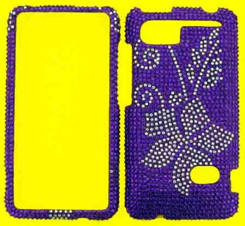 FULL DIAMOND CRYSTAL STONES COVER CASE FOR HTC HOLIDAY / VIVID / RAIDER 4G PH39100 PURPLE FLOWER (Cover Htc Ph39100)