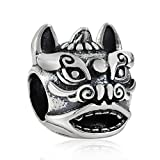 Choruslove Chinese Guardian Lions Amulet Charm Bead Antique 925 Sterling Silver for 3mm Bracelet