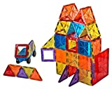 Mag-Genius Award Winning building Magnet Tiles Blocks Clear Colours 3D Brain Building Blocks Set of 105 + Pieces Includes 2 Cars And Free Storage Bin