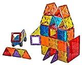 Mag-Genius Award Winning building Magnet Tiles Blocks Clear Colors 3D Brain Building Blocks Set of 108 +15 extra piece set bonus Includes 2 Cars And Free Storage Bin AGE 3 + Larger Image
