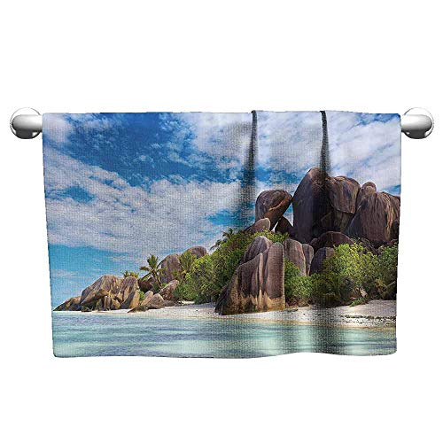 (duommhome Tropical Decor Collection Beach and Pool House Towel ANSE Source DArgent Beach La Digue Seychelles Journey and Rock Greenery Picture W14 x L27 Blue Green Ivory)