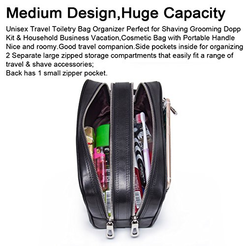 Amazon.com  Contacts Genuine Leather Zipper Toiletry Bag Dopp Kit Small  Travel Bag Black  Health   Personal Care 4fa48d75baa98