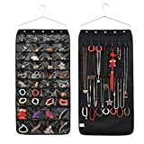 Jewelry Hanging Non-Woven Organizer Holder Earring Necklace Ring Dual Side Display Storage Bag with 40 Pockets 20 Hook and Loops