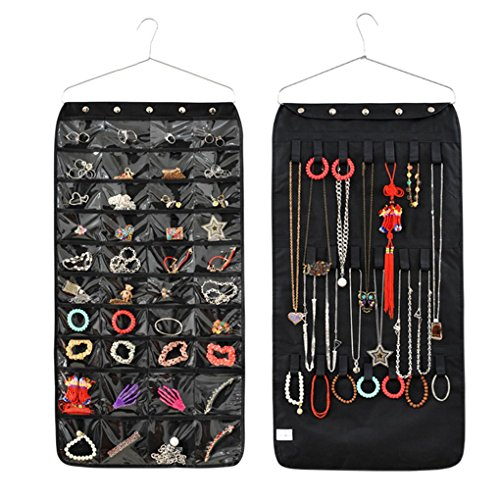 Jewelry Hanging Non-Woven Organizer Holder Earring Necklace Ring Dual Side Display Storage Bag with 40 Pockets 20 Hook and Loops -