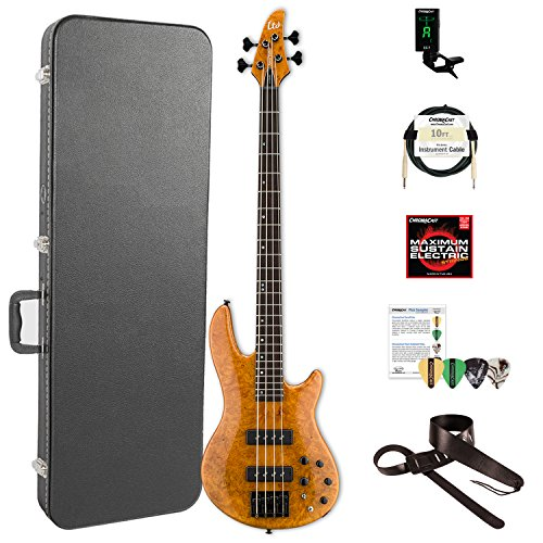 ESP LH1004SEBMHN-KIT-2 H Series 4-String Solid Burled Maple Top Electric Bass with Hard Case, Honey Natural by ESP
