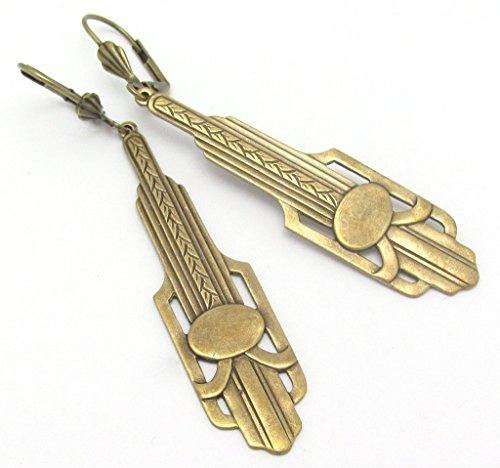 Art Deco Design Earrings Long Chandelier Drops Antiqued Gold