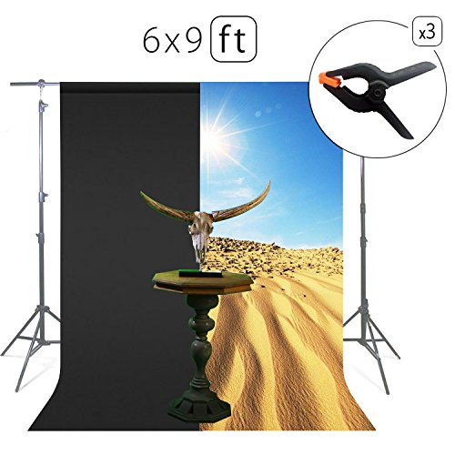 Tang Jie Black Screen Photo Background Cotton Muslin Backdrop Chromakey Screen For Youtake Video Photography Studio Booths Props 6 x 9ft from Tang Jie
