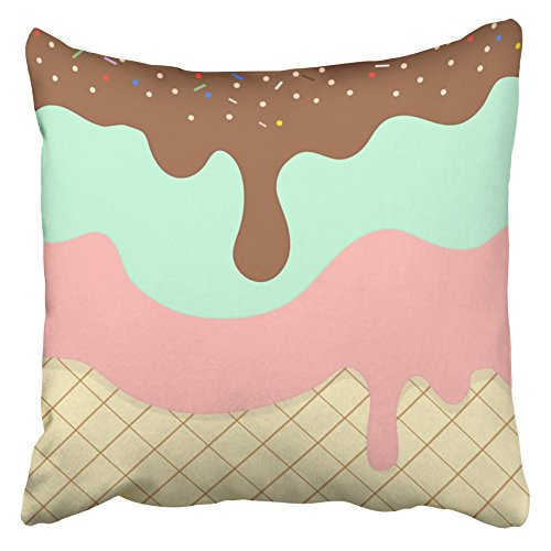 Emvency Decorative Throw Pillow Covers Cases Blue Melt Sweet Ice Cream Pattern Colorful Drip Cake Cute Cone Waffle Chocolate Girl 16x16 inches Pillowcases Case Cover Cushion Two Sided ()