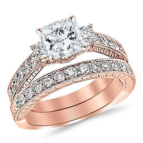 2.53 Ctw 14K Rose Gold GIA Certified Asscher Cut Three Stone Vintage with Milgrain & Filigree Bridal Set with Wedding Band & Diamond Engagement Ring, 1.5 Ct G-H VS1-VS2 Center