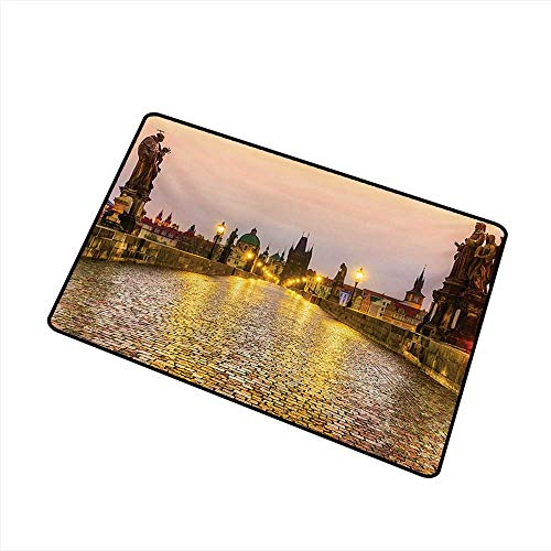(duommhome Outdoor Door mat Landscape Charles Bridge Old Town Prague Czech Republic with Classic Medieval Buildings W35 xL59 Quick and Easy to Clean)