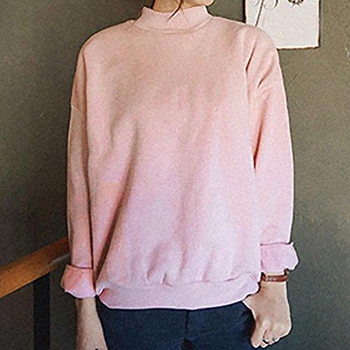 Toamen Mujer Chica Plus Size Sudadera Manga Larga Crop Jumper Suede Pullover Tops G