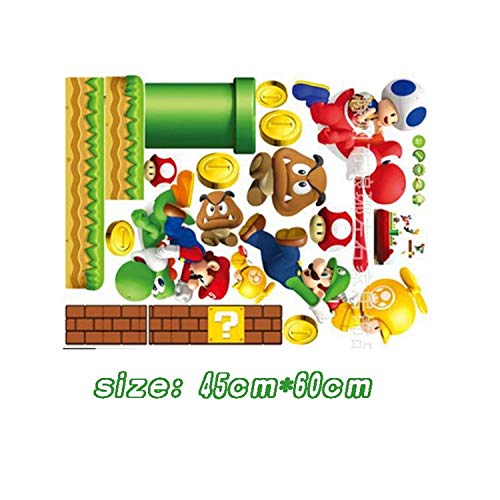 Jewh Super Mario Bros Kids Removable Wall Sticker - Decals Nursery Home Decor Vinyl Mural for Boy Bedroom Living Room Mural Art (621)