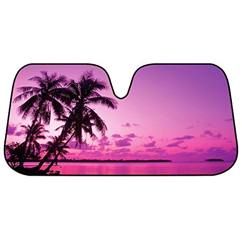 BDK AS- 705_AM Purple & Pink Tropical Island Sunset Auto Windshield Sun Shade (for Car SUV Truck-Bubble Foil Folding Accordion)