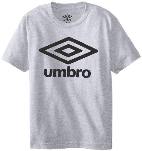 UMBRO Big Boys' Short Sleeve Logo Front Only Screen, Athletic Heather, Medium (Umbro T-shirt Soccer)
