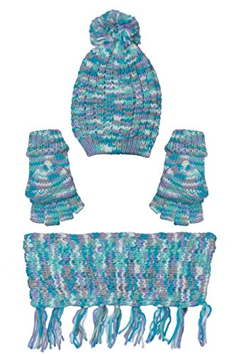 Girls Thick Winter Scarves, Hat and Gloves Accessories 3 pce Set