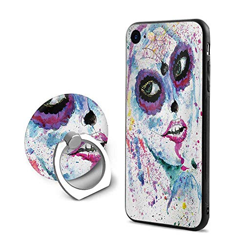 Girls iPhone 7/iPhone 8 Cases,Grunge Halloween Lady with Sugar Skull Make Up Creepy Dead Face Gothic Woman Artsy Blue Purple,Design Mobile Phone Shell Ring Bracket ()