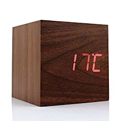 Cube Wood LED Alarm Clock - Time Temperature Date Display - Voice and Touch Activated (Brown)