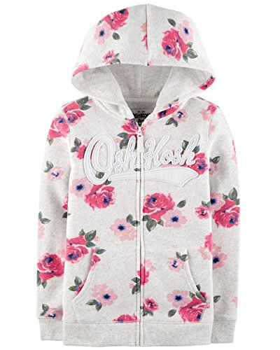 Osh Kosh Girls' Toddler Full Zip Logo Hoodie, Grey Floral, 4T by OshKosh B'Gosh