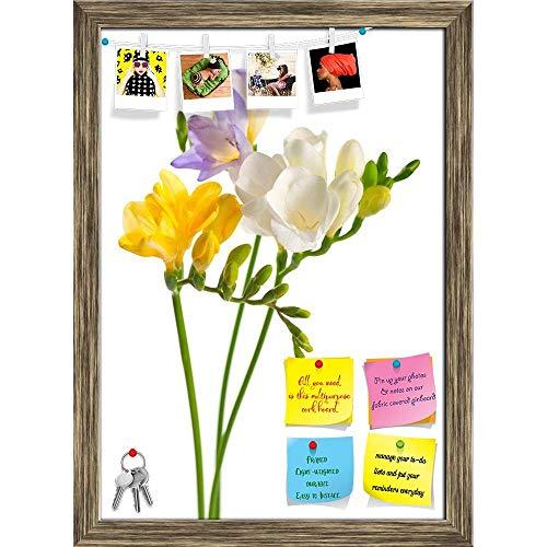 (Artzfolio White & Yellow & Purple Freesia Flowers Printed Bulletin Board Notice Pin Board | Antique Golden Frame 16 X 22.4Inch)